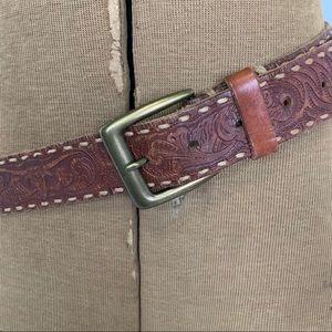 Old Navy tooled leather belt with stitched detail